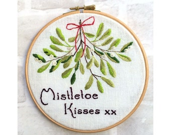 Mistletoe Kisses hand embroidery Christmas pattern pdf download