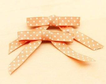 Vintage Ribbon Hair Clips - Peach Polka Dots