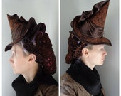 Brown Steampunk Witch Hat, Victorian Tilt Hat, Gothic Headpiece, Steampunk Fascinator, Ready to Ship