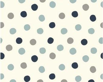 Pop, Dots, Stormy, Large, Dot, Navy, Blue, Grey, Birch, Organic, Fabrics, Cotton, Poplin, Unisex Baby Fabric, Boy, Girl, In Custom Cuts