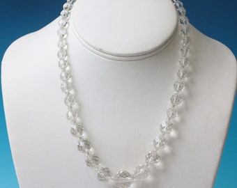 Art Deco Faceted Crystal Necklace Graduated Beads 17 Inch