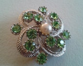 Brooch or Pendant - Silver Colored Metal Green Rhinestone with Simulated Pearl Brooch
