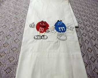 M & M Candy-Custom Embroidered Pillowcase-FREE SHIPPING