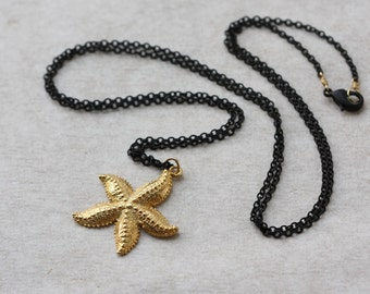 Sea Star Gold Charm, Oxidized Long Necklace, 30 inches Necklace, Black Chain Necklace, Birthday Gift for Wife, StarFish, Mothers Day Gift