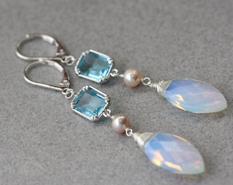 Aqua Blue, Milky Opalite Moonstone Marquise, Silver Long Earrings, Bridal Jewelry, Spring Wedding, Fashion Jewelry, Bridal Shop, Opal Glass