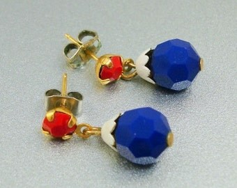 Vintage Red White Blue Earrings