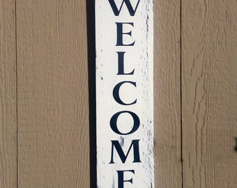 Welcome deck sign, summertime outdoor porch patio house decor, hand painted wood