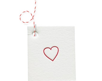 Red Heart White Cotton Letterpress Tags - 4 pack