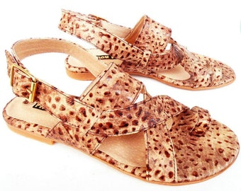 Reptile Brown Leather Sandals Handmade