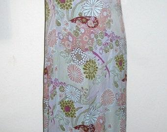 Citron Floral Silk Sleeveless Dress Size XL