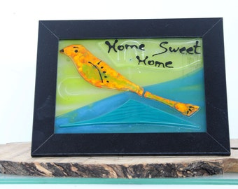 Fused Glass bird landscape Painting, Home Sweet Home Wall Decor.