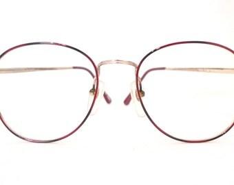 sale Big 80s Windsor VTG Eyewear NOS Burgundy Wine ROundish Preppy Disco MOD Eyeglasses Bug Eye P3 Sunglasses Metal 54mm 19mm 140mm