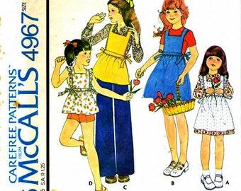 Girls' Pinafore and Pants/Slacks - McCalls 4967 - Size 10 Vintage Sewing Pattern, Uncut FF