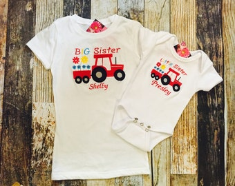 Personalized Big Sister Little Sister Tshirts - Tractors Set of 2 shirts - Green, Blue or Red Tractors