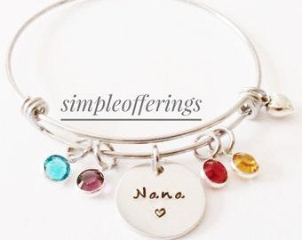 Nana Bracelet, Grandma Bracelet, Gift for Nana, Gift for Grandma, Mimi, Gigi, Birthstone Bracelet, Birthstone Jewelry, Charm Bangle,