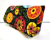 READY TO SHIP Fabric Coupon Organizer /Budget Organizer Holder - Attaches to Your Shopping Cart - Black with Multi Color Circles