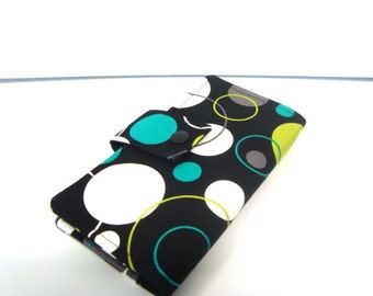 Fabric Checkbook Cover, Holder - Lagoon Hoopla Dot Lagoon