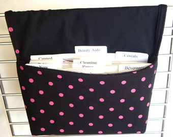 40% Off Coupon Organizer /Budget Organizer Holder - Attaches to Your Shopping Cart- Black with Pink Dots