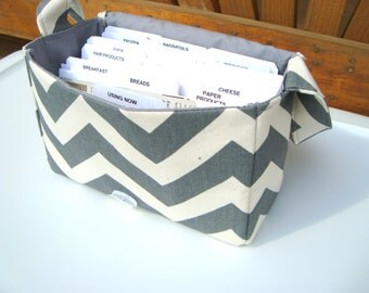 Super Size Coupon Organizer / Budget Organizer Holder Box - Attaches to Your Shopping Cart -   Gray and Linen Color / Zig Zag