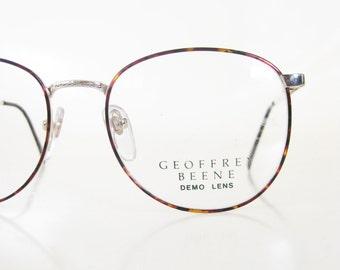 Mens Round Wire Rim Glasses 1980s P3 Eyeglasses Metallic Tortoiseshell Gold Golden 80s Eighties Oversized Guys Homme Deadstock NOS Hipster