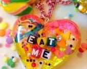 Kawaii Cupcake Necklace - Food Jewlery - Cupcake Necklace - Sprinkle Resin Jewelry - Glitter Resin Jewelry - Conversation Heart