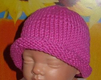 HALF PRICE SALE madmonkeyknits Baby Simple Roll Brim Beanie Hat pdf knitting pattern - Instant Digital File pdf download knitting pattern