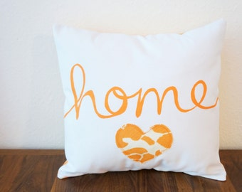SALE!! Orange 'Home' Pillow Cover (14 inch) (original price 35.00)