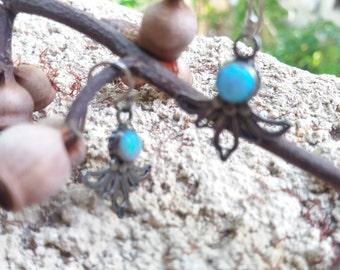Silver earrings, Filigree silver earrings, opal earrings. Sterling silver jewelry, Israeli vintage sterling silver Jewelry