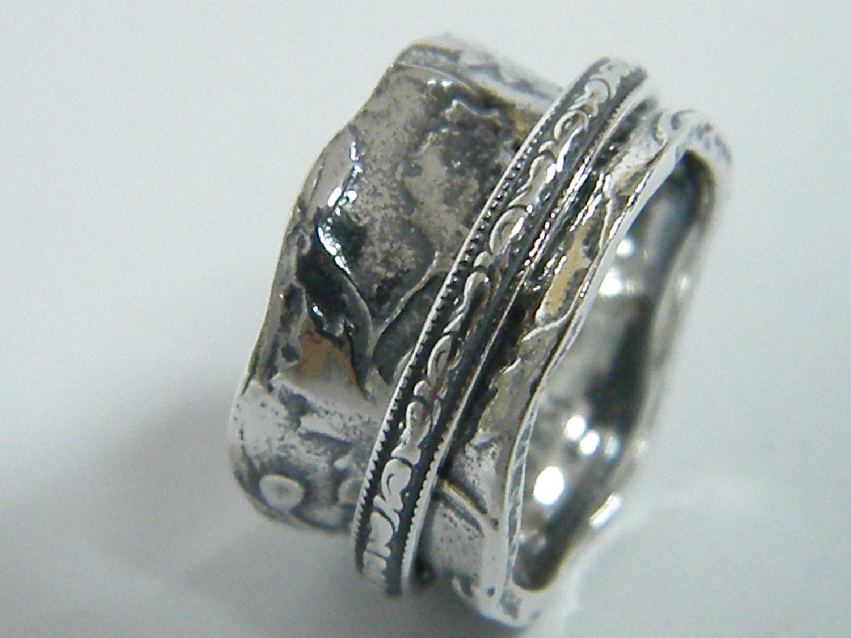 meditation ring spinner silver ring sterling silver