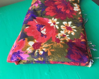 Vintage Mod Floral Fabric 70s 1.5 Yards Riegel Upholstery Cotton Curtain Yardage