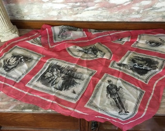 Vintage DAVID COPPERFIELD Scarf Charles Dickens Sheer Silk Pictoral Red Black Unusual