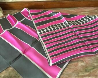 Vintage Silk Scarf 60s PINK GRAY STRIPE Baar & Beards Inc. Japan Rectangular