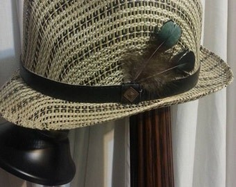"""Gypsy Style """"Fedora"""" Straw Hat with Rooster Feathers by TheSimpleGyspy"""