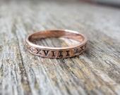 14K Gold Diamond Wedding Band Hand Stamped Roman Numeral Wedding Date Personalized Promis Ring Custom Engraved Artisan Handmade Fine Unisex