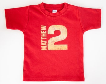 Toddler Personalized Name and Number Birthday Shirt - NO INK - Click for colors, Free Shipping