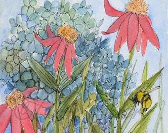 Hydrangea Garden Flowers Nature Art Original Watercolor Illustration