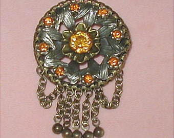 Burnished Brass Topaz Rhinestone and Chain Fringe Brooch
