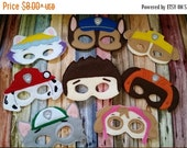 Back to school Sale Puppy Patrol Inspired Felt Masks...  Great for Birthdays, Dress Up, Costume Party, Halloween