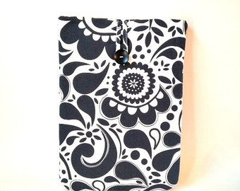 Surface Book Case, Surface Pro 4, 3, 2, RT Cord Pocket, Tablet Cover, Portable Gadget Sleeve, Navy Black Floral Bag Flower Womens Ladies Sac