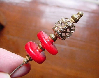 Red sponge coral 2 bead with gold tone bead and filigree accents hatpin ladies pin for hat U-62