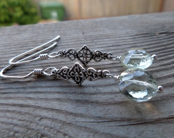 High Quality Faceted Prasiolite (Green Amethyst) Sterling Silver Dangle Earrings