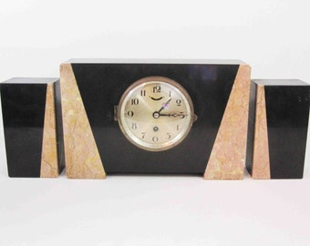 Vintage Art Deco Marble Mantle Clock and Matching Garniture. Circa 1930's.