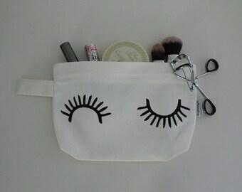 Eyelash Wink Cotton Canvas Zipper Makeup Bag