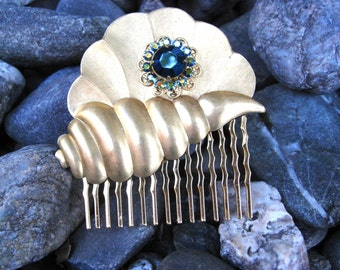 Golden Shell Swarovski Crystal Hair Comb in Teal