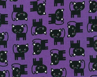 Ann Kelle Urban Zoology Halloween Cats Purple Robert Kaufman Fabric, Choose your cut