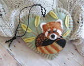 Red Panda Ornament - Made to Order Embroidered Fiber Art