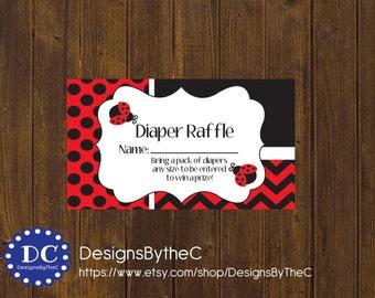 Ladybug Diaper Raffle Ticket, Diaper Raffle Ticket, Ladybug Baby Shower, Baby Shower Instant Download