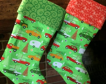 Christmas Stocking, Fully Lined Stocking, Cars and Trees Vintage style stocking