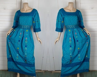 70s Peasant Dress in Turquoise Blue- 1970s Mexican Maxi Dress- Cotton