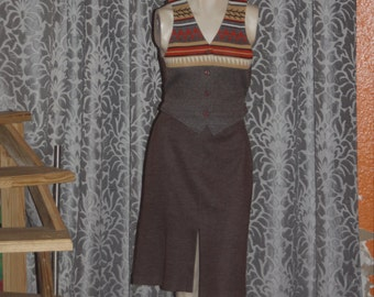 Vintage 70's knit skirt and vest Dress Set 10 M
